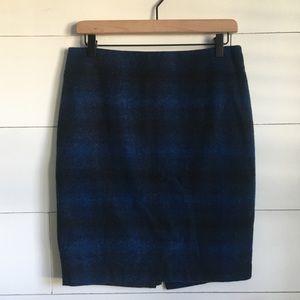 Loft blue plaid pencil skirt